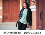 young fashion woman walking in... | Shutterstock . vector #1090261595