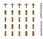 totem icons set. cartoon... | Shutterstock .eps vector #1090263464