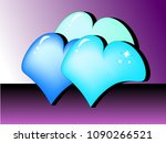 three colored hearts | Shutterstock .eps vector #1090266521