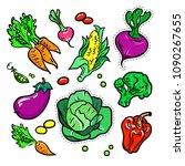 vegetables   vector isolated... | Shutterstock .eps vector #1090267655