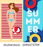 woman lying on the beach towel... | Shutterstock .eps vector #1090273709