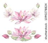 watercolor flowers set in... | Shutterstock . vector #1090278824