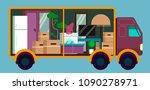 moving truck full of furniture... | Shutterstock .eps vector #1090278971