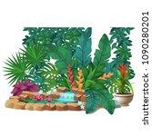 artificial garden of tropical... | Shutterstock .eps vector #1090280201