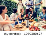 group of diverse friends... | Shutterstock . vector #1090280627