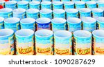 Small photo of Russia, salt-Iletsk, August 2017: glasses with a name standing in a row in the market. Text in Russian: Varya Semyon Aydar Eugenia Darina Lydia Timothy Ira Zhanna Stanislav and other names.
