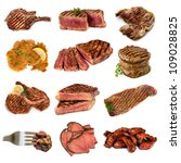 Collection of cooked meat images, isolated on white.  Includes beef and pork, steak, cutlets, filet mignon, schnitzel, rare roast beef and spareribs. - stock photo