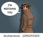 spy in raincoat and hat pop art ... | Shutterstock .eps vector #1090293305