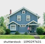 basic blue house with small... | Shutterstock . vector #1090297631