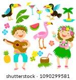 happy kids with hawaiian... | Shutterstock .eps vector #1090299581