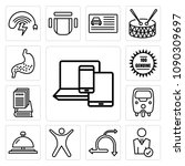 set of 13 simple editable icons ... | Shutterstock .eps vector #1090309697