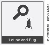 loupe and bug icon isolated on... | Shutterstock .eps vector #1090312364