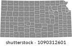 kansas county map vector... | Shutterstock .eps vector #1090312601