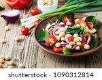 chickpears and  fresh... | Shutterstock . vector #1090312814