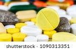 medicine pills or capsules on...   Shutterstock . vector #1090313351
