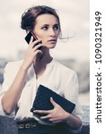 young business woman with... | Shutterstock . vector #1090321949