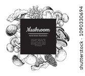 mushroom hand drawn vector... | Shutterstock .eps vector #1090330694