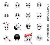 set of various face emoji icons.... | Shutterstock .eps vector #1090332977
