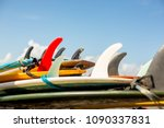 many single fin surfing... | Shutterstock . vector #1090337831