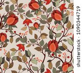 colorful floral pattern. vector ... | Shutterstock .eps vector #1090344719