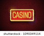 casino neon sign illustration... | Shutterstock .eps vector #1090349114
