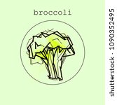 broccoli icon or logo in flat... | Shutterstock .eps vector #1090352495