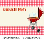 barbecue party blank invitation.... | Shutterstock .eps vector #1090359971