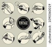 set of round icons in vintage... | Shutterstock .eps vector #1090360019