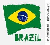 vintage national flag of brazil ...   Shutterstock .eps vector #1090368194