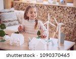 eco housing. positive cute girl ... | Shutterstock . vector #1090370465