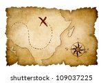 pirates map with marked... | Shutterstock . vector #109037225