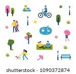 minimal people in city park. ... | Shutterstock . vector #1090372874