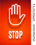 stop sign with hand on red... | Shutterstock . vector #1090376711