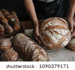 homemade sourdough bread food... | Shutterstock . vector #1090379171