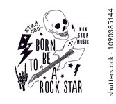born to be a rock star... | Shutterstock .eps vector #1090385144