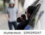 policeman looking on hooded... | Shutterstock . vector #1090390247