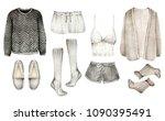 watercolor fashion illustration.... | Shutterstock . vector #1090395491