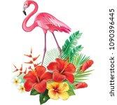 arrangement from tropical... | Shutterstock .eps vector #1090396445