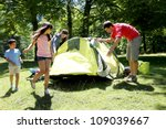 family doing camping in the... | Shutterstock . vector #109039667