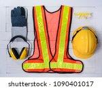 standard construction safety... | Shutterstock . vector #1090401017