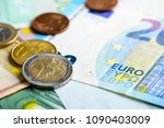 euro cash background. pile of... | Shutterstock . vector #1090403009