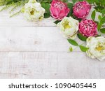 floral springtime background.... | Shutterstock . vector #1090405445