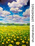 flowers field painting. the... | Shutterstock . vector #1090405601