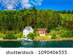 lake house on mountain forest... | Shutterstock . vector #1090406555