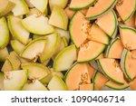 cantaloupe and honeydew melon... | Shutterstock . vector #1090406714