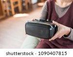 mature woman using vr headset... | Shutterstock . vector #1090407815