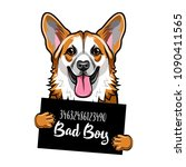 welsh corgi prison. dog bad boy.... | Shutterstock .eps vector #1090411565