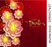 happy diwali festival card with ... | Shutterstock .eps vector #1090417637