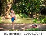 little boy posting muay thai... | Shutterstock . vector #1090417745