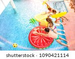 top view of active friends... | Shutterstock . vector #1090421114